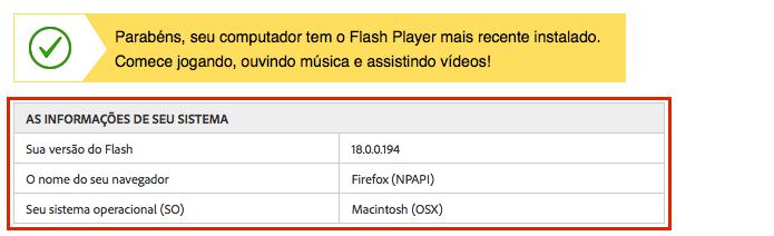 Visualizando a informação da versão do Flash (Foto: Reprodução/Edivaldo Brito)
