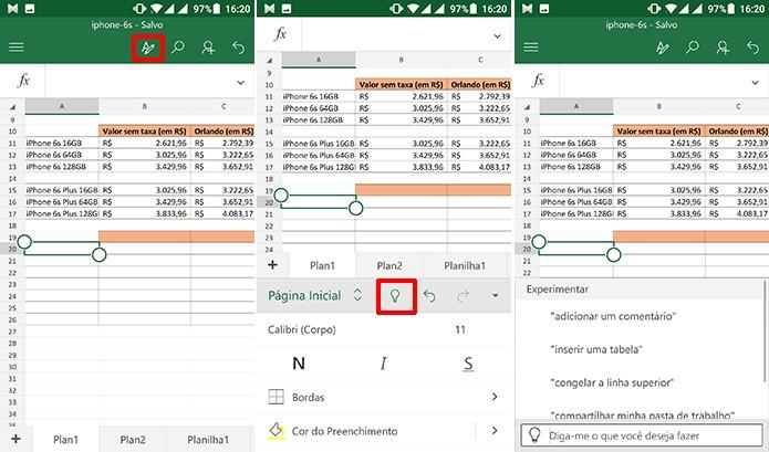 Tell me também está disponível no Excel para Android (Foto: Reprodução/Elson de Souza)