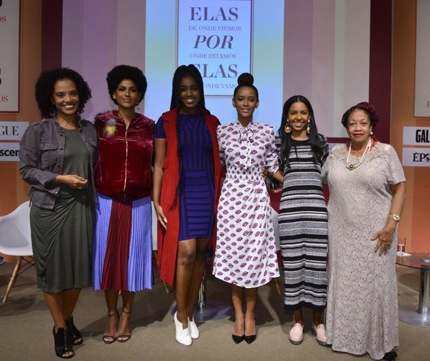 Flavia Oliveira, Alexandra Loras, Iza, Tais Araújo, Nathalia Santos e a ministra Luslinda Dias de Valois (Foto: Fábio Cordeiro/Editora Globo)