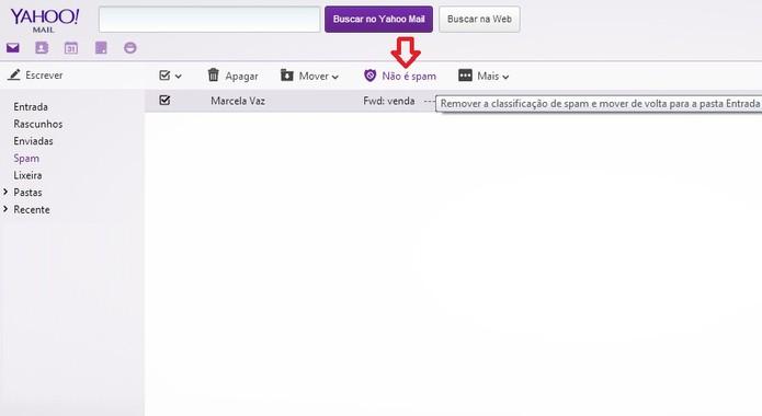 Opção de marcar e-mail como não sendo spam no Yahoo Mail (Foto: Reprodução/ Marcela Vaz)