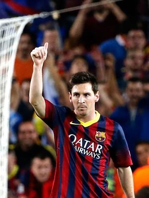 Messi comemoração Barcelona contra Milan Liga dos Campeões (Foto: AP)
