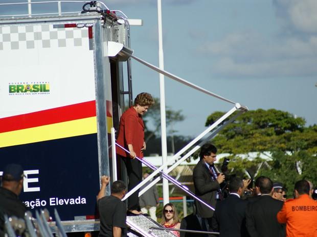 A presidente Dilma Rousseff em entrega de centro de comando de segurança para Copa (Foto: Vianey Bentes/TV Globo)