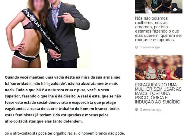 Reprodução de página na internet que incita a violência contra as mulheres (Foto: Reprodução)