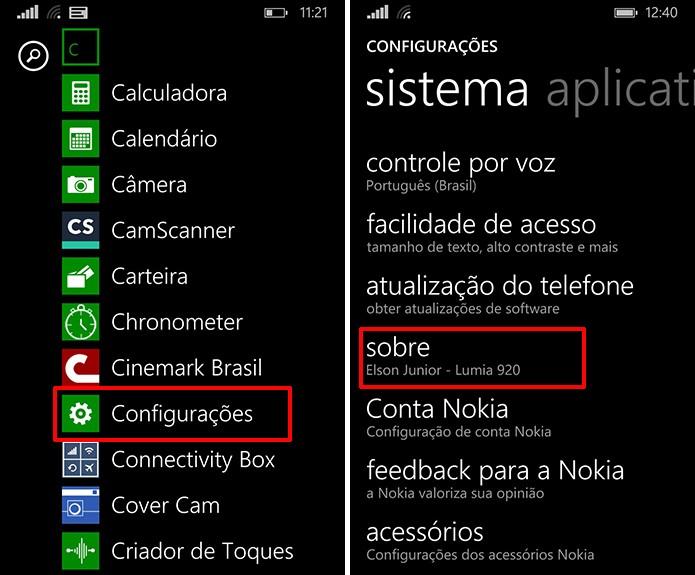 Windows Phone pode ter versão descoberta a partir das configurações do telefone (Foto: Reprodução/Elson de Souza)