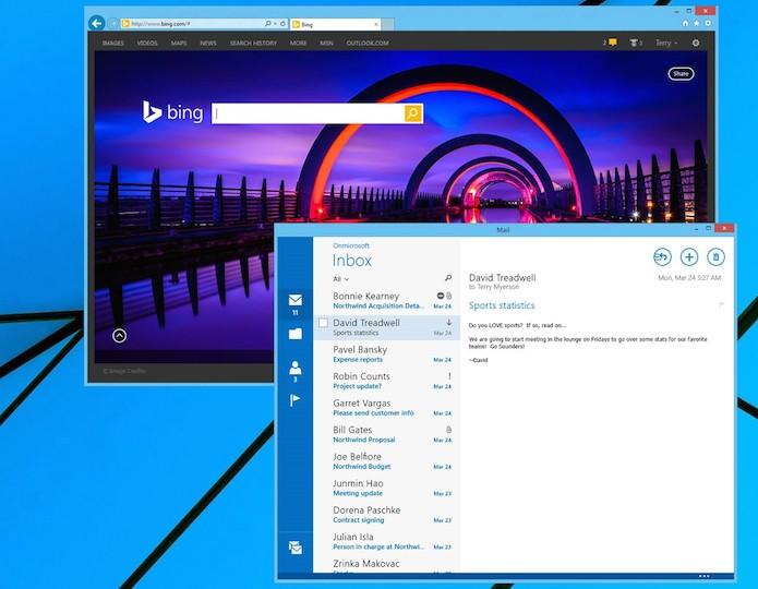 Aplicativos modernos serão executados em janelas na área de trabalho clássica (Foto: Reprodução/Microsoft)