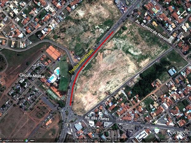 mapa de bloqueio na avenida Miguel Sutil em Cuiabá (Foto: Divulgação/Secopa)