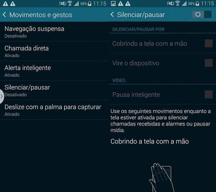 Controle por gestos do Galaxy S5 (Foto: Reprodução)