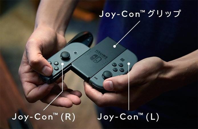 Joy-Con, o controle do Switch, com seu grip (Foto: Divulgação/Nintendo)