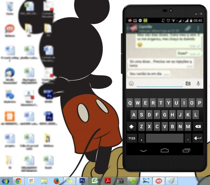 Acessando o celular pelo computador usando o Mobizen (Foto: Reprodução/Marcela Vaz)
