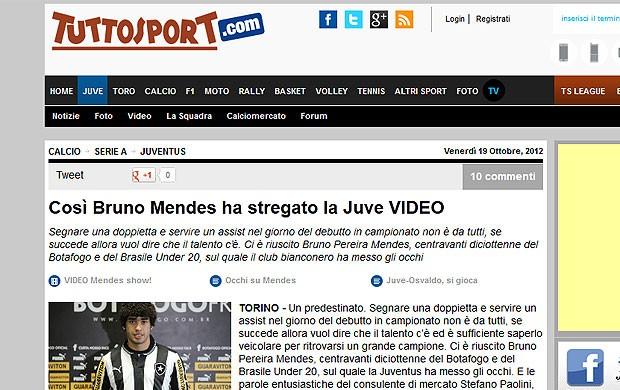 Bruno Mendes Botafogo Tutto Sport (Foto: Reprodução)