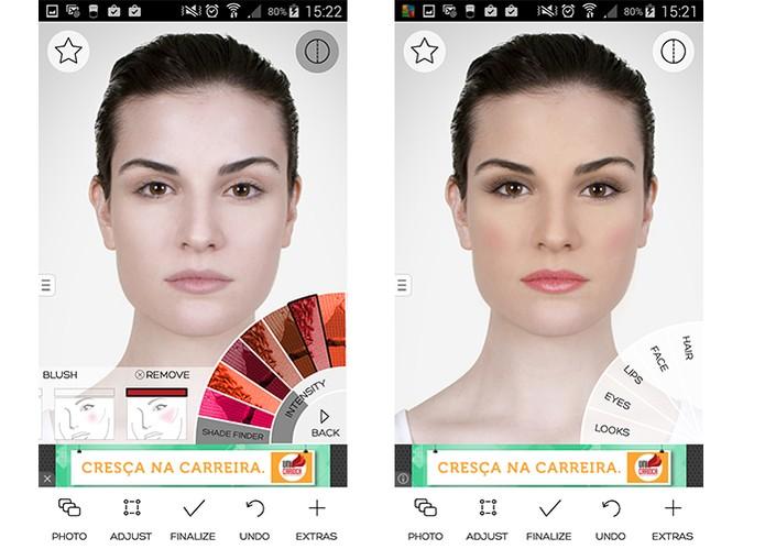 App MakeUp oferece uma grande variedade de ajustes e cores (Foto: Reprodução/Barbara Mannara)