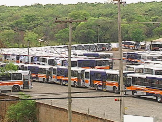 Todos ônibus do transporte público estão parados na garagem em Bauru, SP (Foto: Reprodução/TV Tem)
