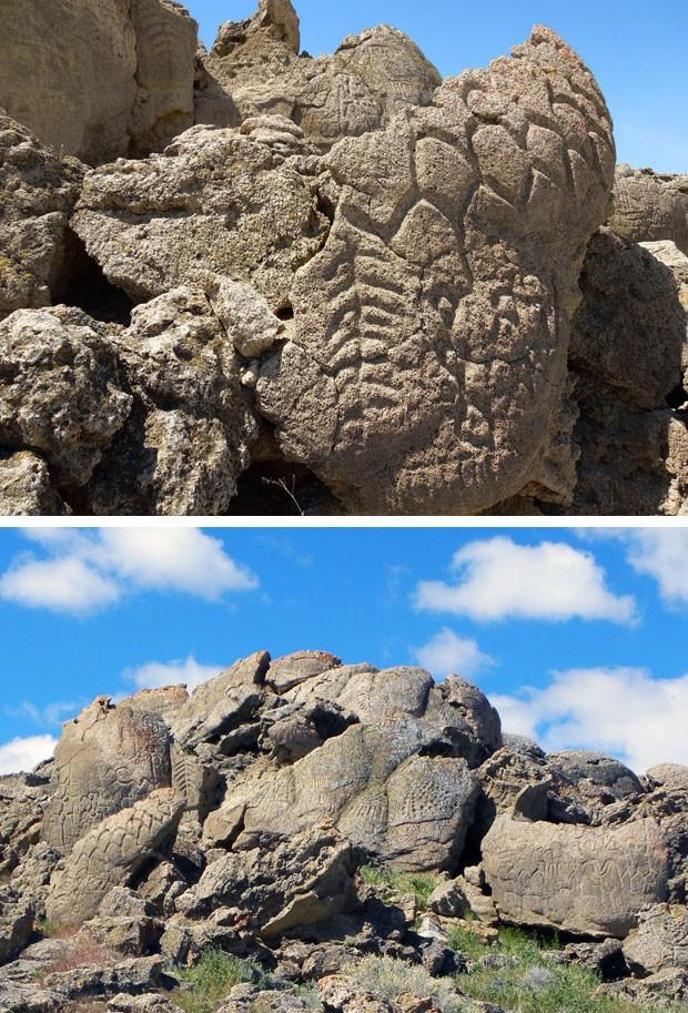 Inscrições em pedra (Foto: Eugene Hatori/Nevada State Museum/AP)