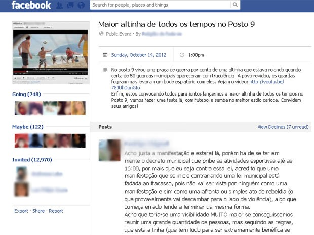 Grupo convoca público através do Facebbok para 'maior altinha de todos os tempos no Posto 9' (Foto: Reprodução/ Facebook)