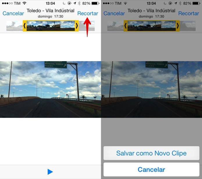 Recortando o trecho de um vídeo no iOS (Foto: Reprodução/Helito Bijora)