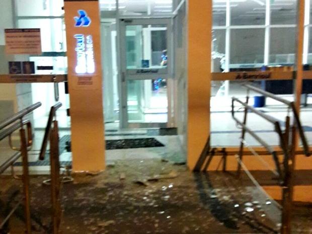 Agência do Banrisul foi atacada na cidade de Parobé (Foto: Divulgação/Brigada Militar)