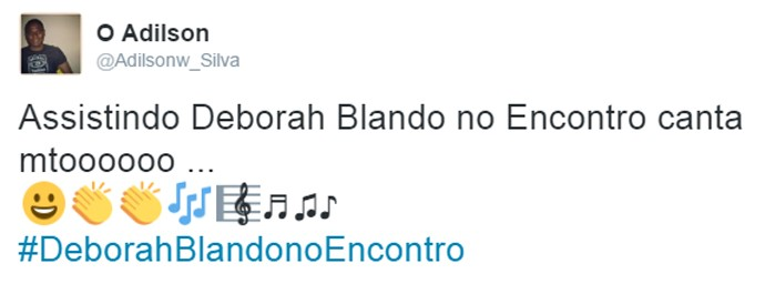 Internauta elogia Deborah Blando no Encontro (Foto: Reprodução)