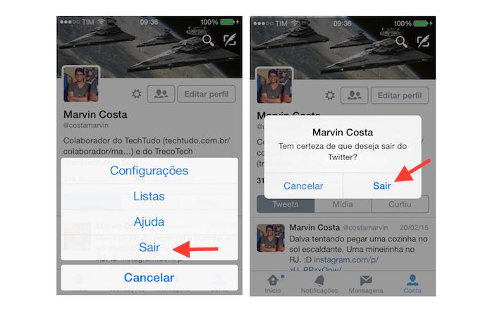Deslogando uma conta do aplicativo do Twitter para iPhone (Foto: Reprodução/Marvin Costa)