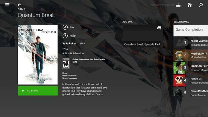 Também é possível comprar jogos de Xbox One no Smartglass (Foto: Reprodução/Murilo Molina)
