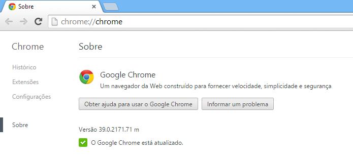 Mensagem informa que o Google Chrome está atualizado (Foto: Reprodução/Helito Bijora)