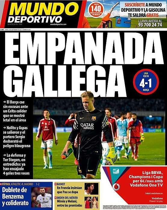 Capa Mundo Deportivo Celta 4 x 1 Barcelona