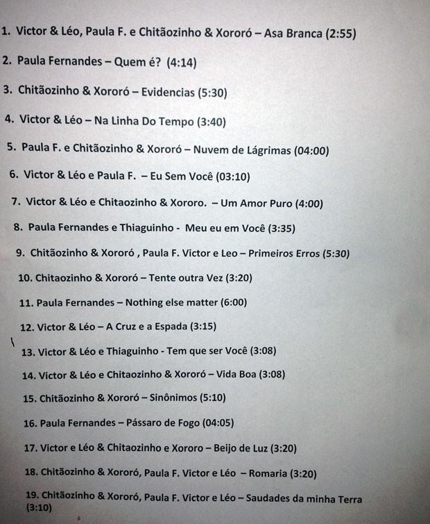 Setlist: Paula Fernandes, Victor & Leo, Chitozinho & Xoror e Thiaguinho no Msica Boa Ao Vivo (Foto: Multishow)