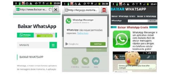 Novo golpe usa site falso de instalação do WhatsApp para conseguir vítimas (Foto: Reprodução/Kaspersky Lab)