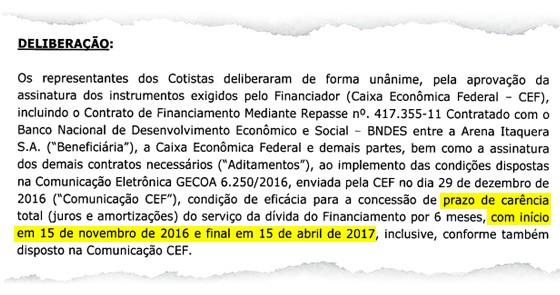 Ata de assembleia da Arena Corinthians sobre renegociação de empréstimo com a Caixa (Foto: Reprodução)