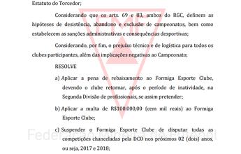 FMF oficializa desistência do Formiga, aplica multa e rebaixa time à 2ª Divisão
