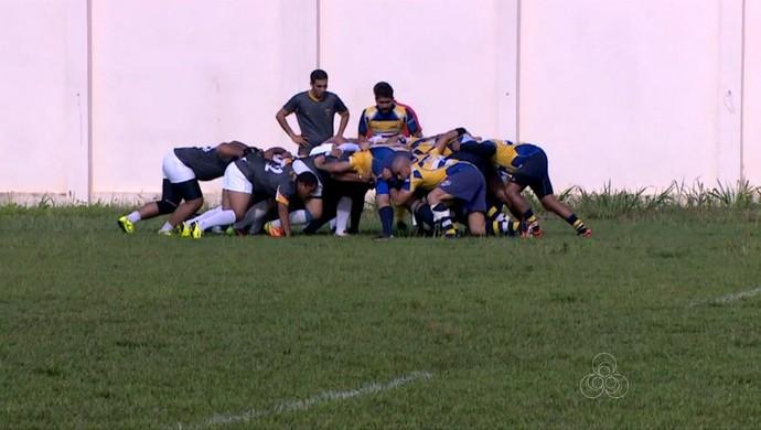 Rio Branco Rugby x Porto Velho Rugby no estádio Aluísio Ferreira (Foto: Reprodução/TV Acre)