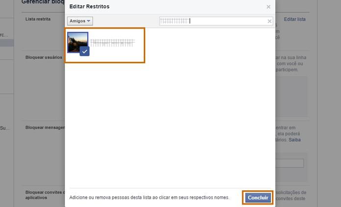 Adicione o contato na lista de restritos do Facebook (Foto: Reprodução/Barbara Mannara)