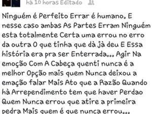 Jovem que seria cúmplice de agressão em Praia Grande fez desabafo na web (Foto: Reprodução/Facebook)