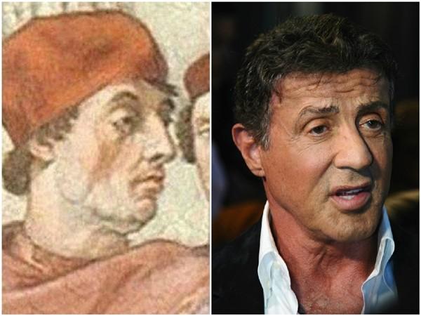 Sylvester Stallone e um religioso não identificado  (Foto: Getty Images/Divulgação)