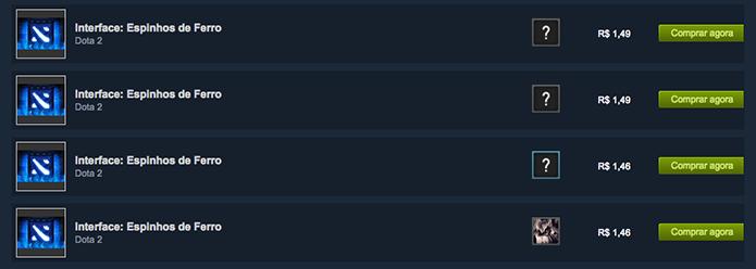 Também é possível encontrar os itens do DotA 2 no Mercado do Steam (Foto: Reprodução/Murilo Molina)