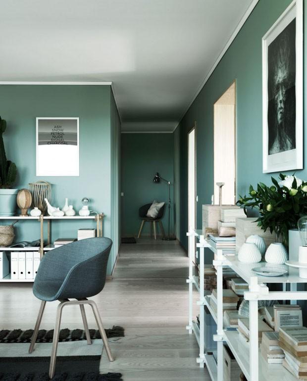 Décor do dia: sala de estar toda verde (Foto: reprodução)