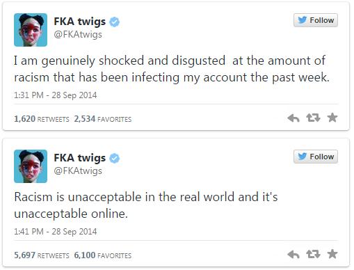 FKA Twigs fez declarações no Twitter (Foto: Reprodução/Twitter)