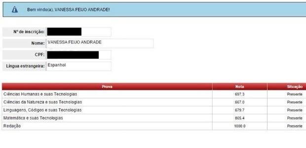 Vanessa foi uma das 250 candidatas de todo o Brasil com nota máxima na redação (Foto: Inep/Reprodução)