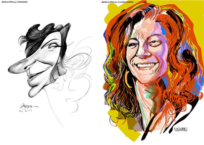 Exposição de caricaturas faz homenagem à atriz Marília Pêra, em São Paulo