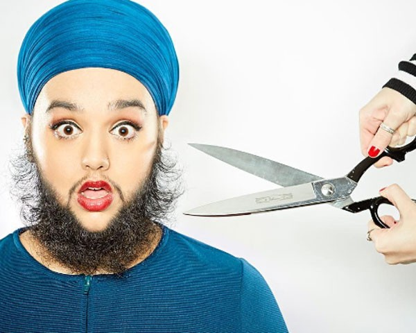 A britânica Harnaam Kaur entrou para o Guinness como a mulher barbada mais jovem do mundo (Foto: Reprodução Instagram)