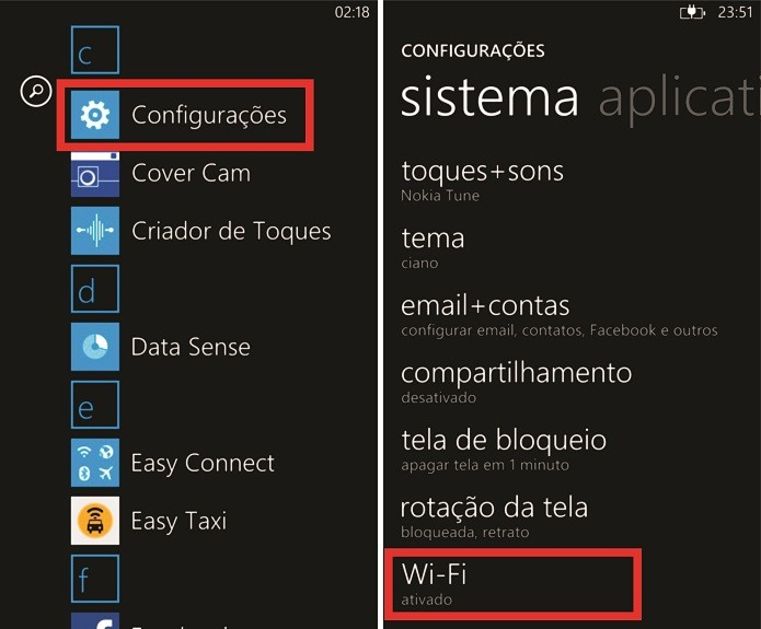 Windows Phone desativa a conexão Wi-Fi por padrão, mas isso pode ser mudado nas configurações do sistema da Microsoft (Foto: Reprodução/Elson de Souza)