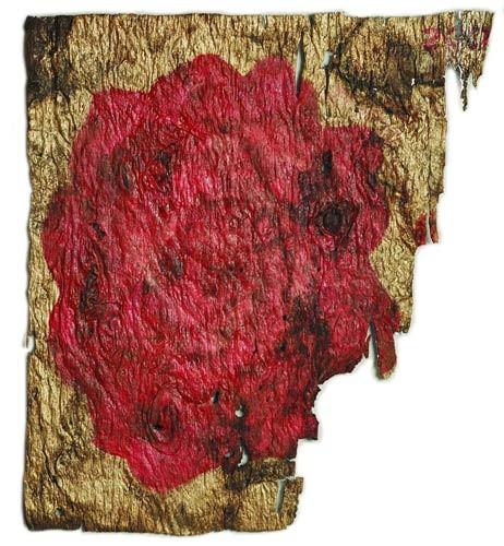 O quadro A Rosa Dourada é o primeiro trabalho de Christina, e data de 2004 (Foto: Reprodução)