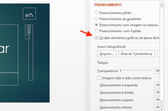 Ocultando elementos gráficos do plano de fundo de um slide no Microsoft Powerpoint (Foto: Reprodução/Marvin Costa)