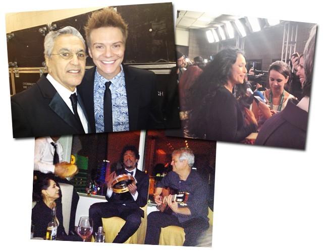 Caetano posa com Michel Teló. Ao lado, Sonia Braga no tapete vermelho. Abaixo, Seu Jorge com o pandeiro na mão, Ricardo Silveira e Sonia Braga (Foto: Paula Lavigne)