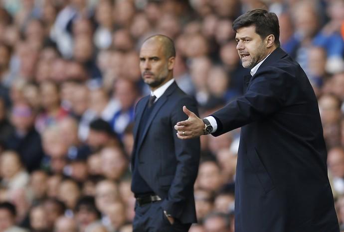 Mauricio Pochettino e Guardiola no jogo (Foto:  Reuters / Andrew Couldridge)