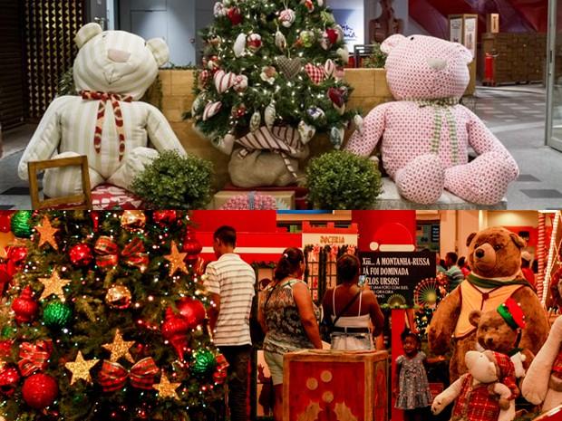 Ursos enfeitam decoração natalina nas Zonas Oeste e Norte (Foto: Divulgação/Shopping Design Barra e Madureira Shopping)
