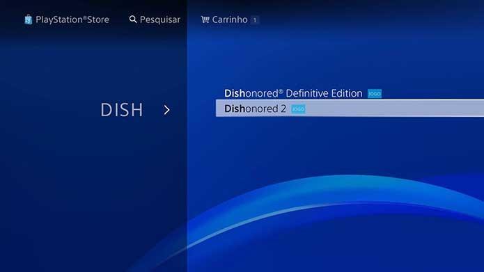 Busque Dishonored 2 na loja do PS4 (Foto: Reprodução/Murilo Molina)