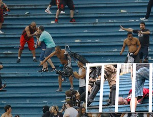 Montagem confusão briga torcidas Atlético-PR x Vasco (Foto: Agência o Globo/Agência Estado)