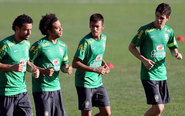 neymar fred oscar marcelo treino seleção brasileira (Foto: Jefferson Bernardes/VIPCOMM)