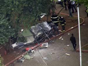 Queda de helicóptero deixou feridos no ABC (Foto: Reprodução/TV Globo)