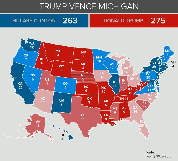 Mapa eleição Trump vence Michigan